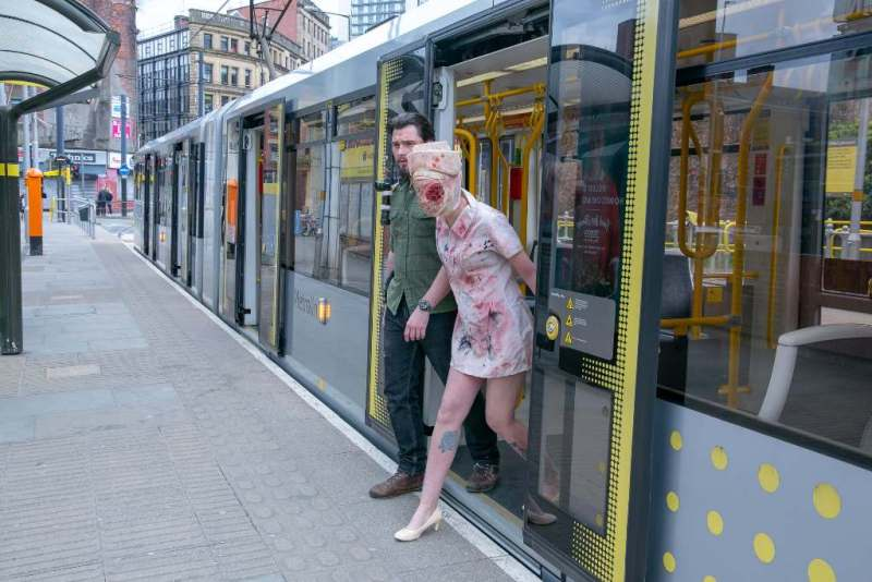Manchester Metrolink - Nurse from Silent Hill and Joel from Last of Us get off at Silent Hill
