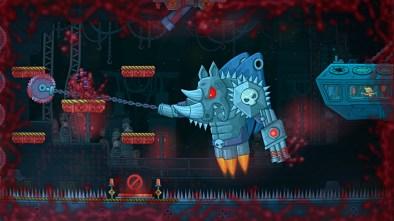 Never Give Up screenshot showing giant rhino robot boss