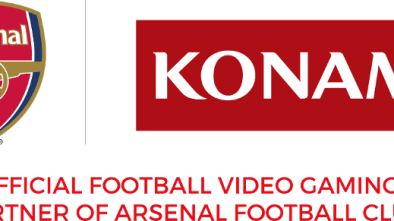 Arsenal FC logo next to Konami logo