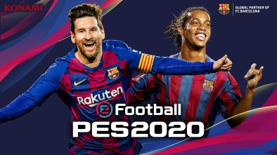 eFootball PES 2020 - FC Barcelona cover with Messi and Ronaldinho
