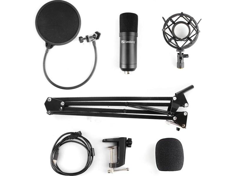 Sandberg Streamer USB Microphone Kit box contents
