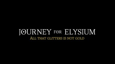 "Journey for Elysium logo with ""All that glitters is not gold"" quote"
