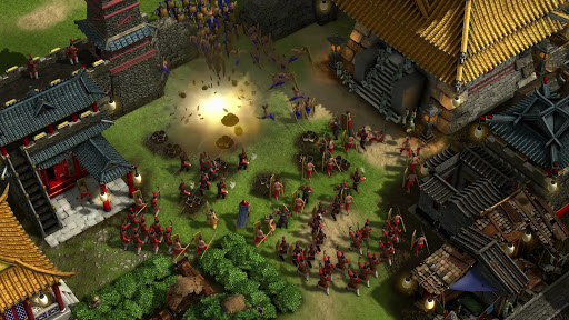 Stronghold: Warlords gameplay showing the use of gunpowder
