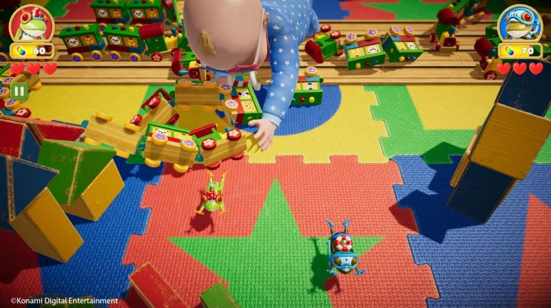Frogger in Toy Town gameplay showing massive baby on a playmat