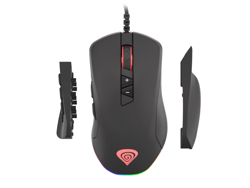 Top view of the Genesis hybrid gaming mouse