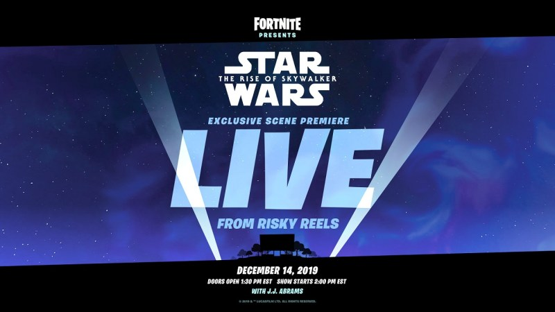 Fortnite Star Wars Live Screening of exclusive clip from upcoming movie