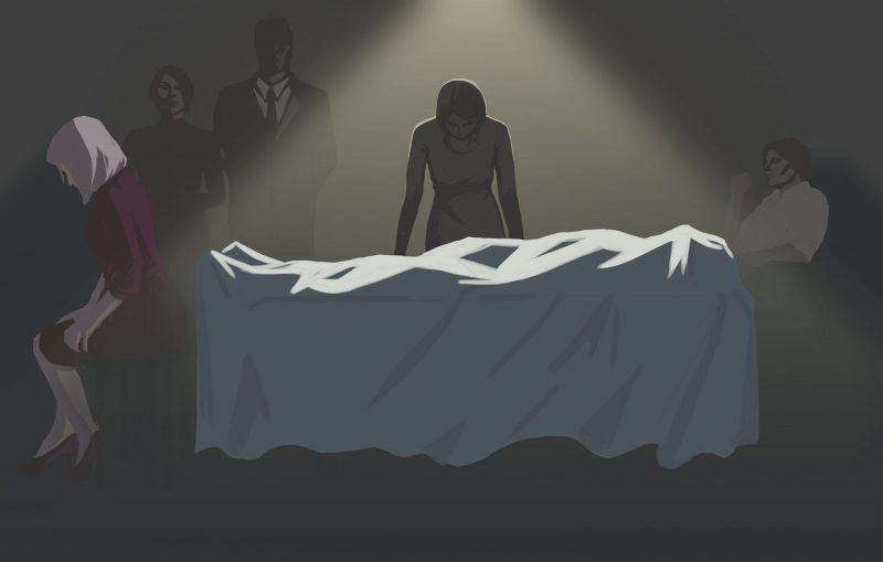 Femida artwork, body standing over a dead body covered by a white sheet