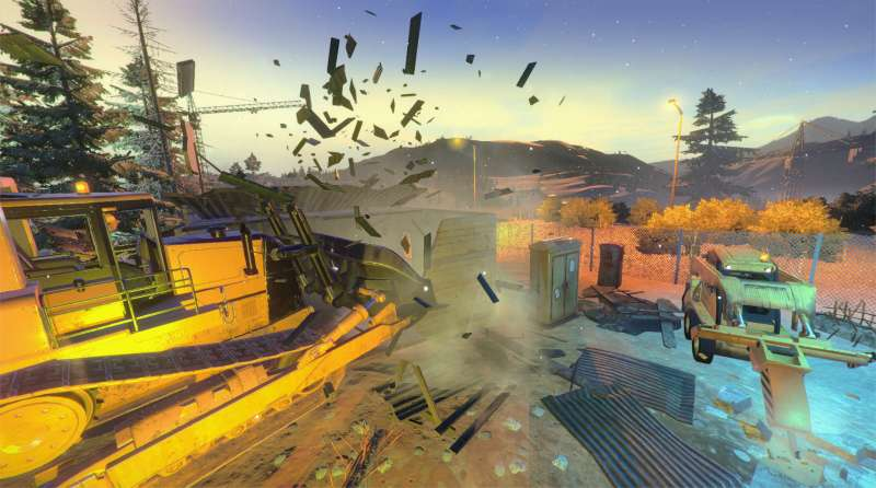Demolish & Build gameplay showing a bulldozer smashing through a building
