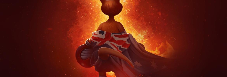 Kao the Kangaroo tackling a bushfire in Australia
