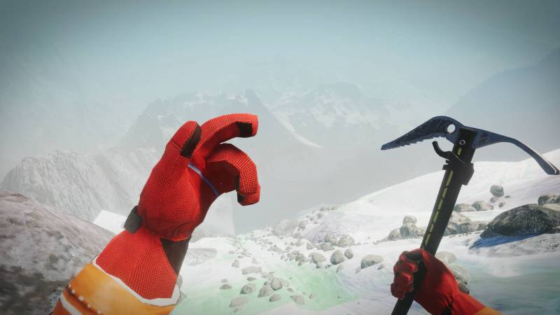 Climber: Sky is the Limit gameplay showing player holding a pick