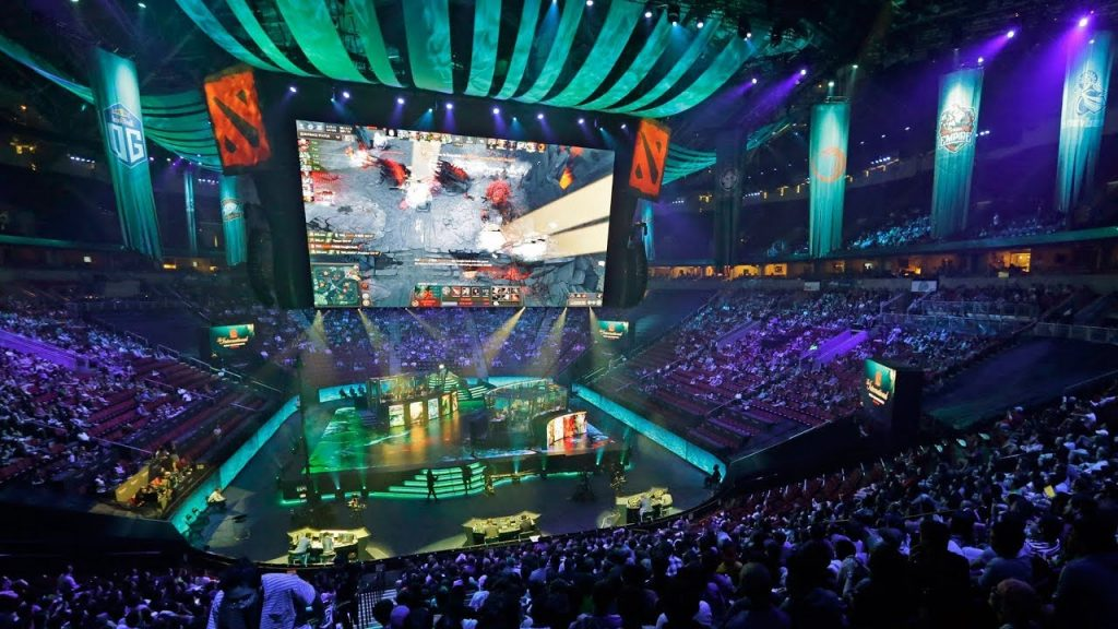 Dota 2 Esports Tournament being played and watch in huge arena