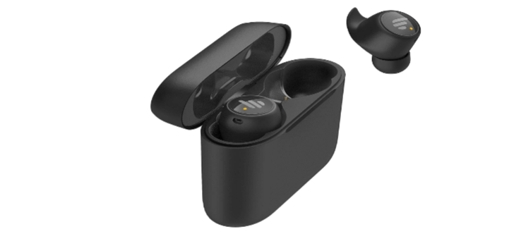 Edifier TWS6 with one earphone in the charging case and one outside