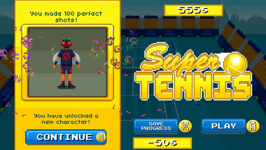 Super Tennis match end screen allowing you to spend your winnings