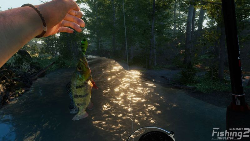 Ultimate Fishing Simulator 2 gameaplay screenshot of a fish on the end of the line