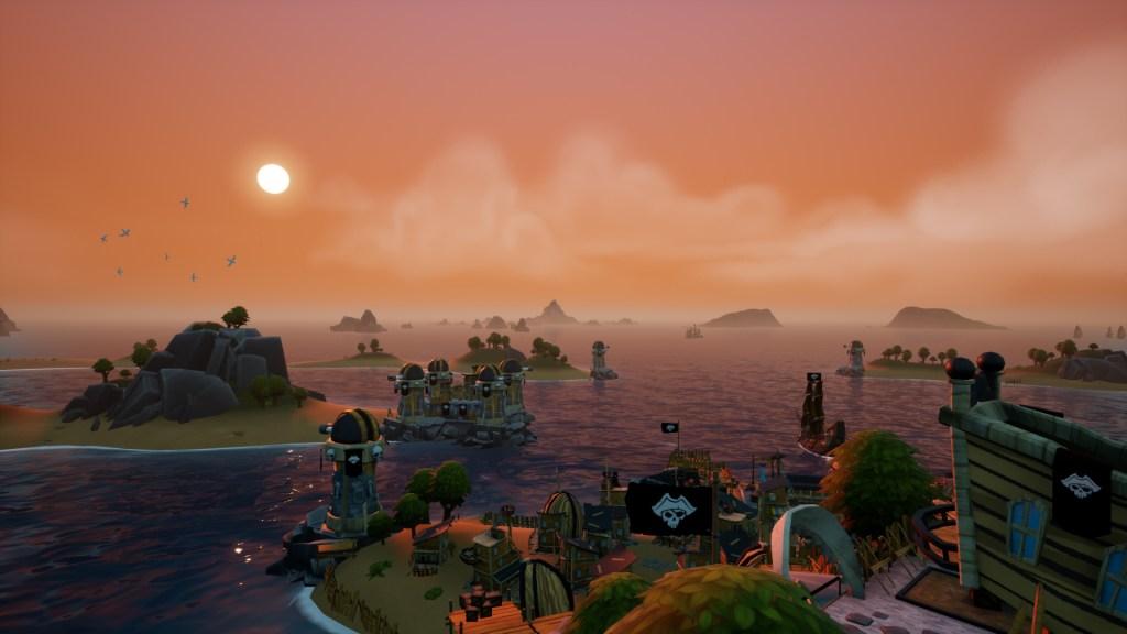 King of Seas sunset shot off the coast of an island
