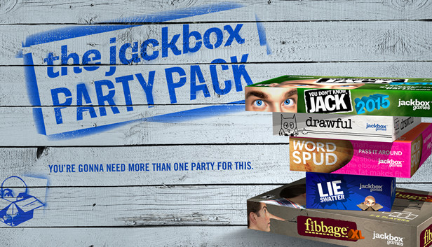The Jackbox Party Pack logo and the pack's multiplayer games listed