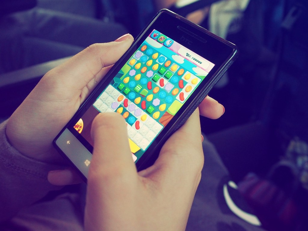 Candy Crush being played on a mobile phone