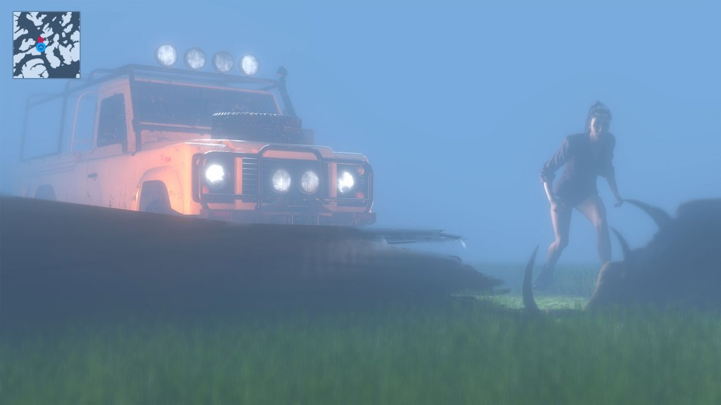 Animal Rescue gameplay screenshot showing woman outside jeep attending to a deer
