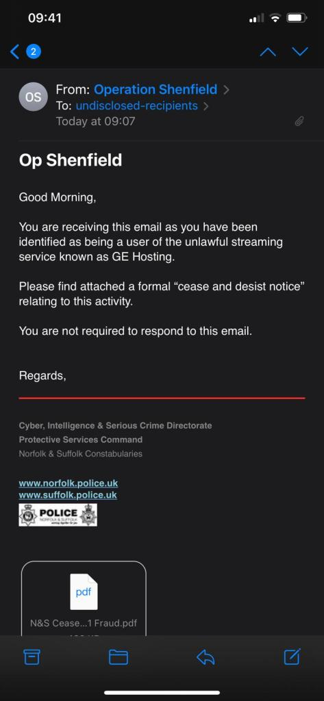 IPTV Email from Police