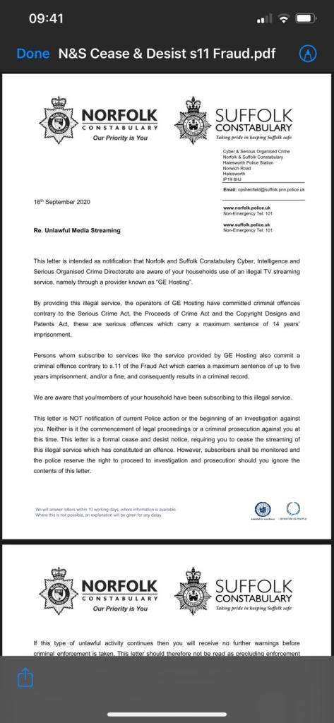 IPTV Cease and Desist letter