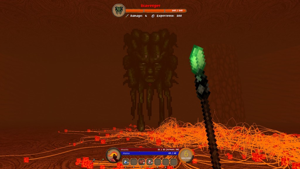 Pangeon gameplay facing a boss that resembles a floating head