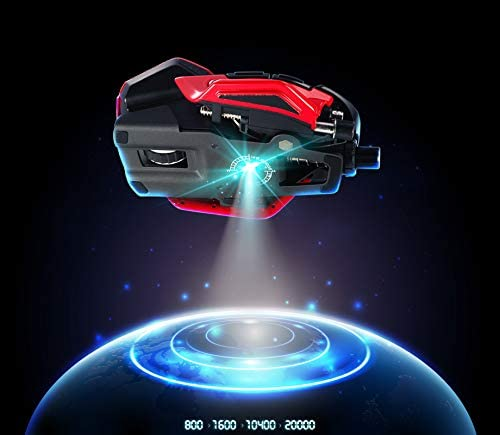 Mad Catz R.A.T. 8+ mouse like an alien spaceship above earth