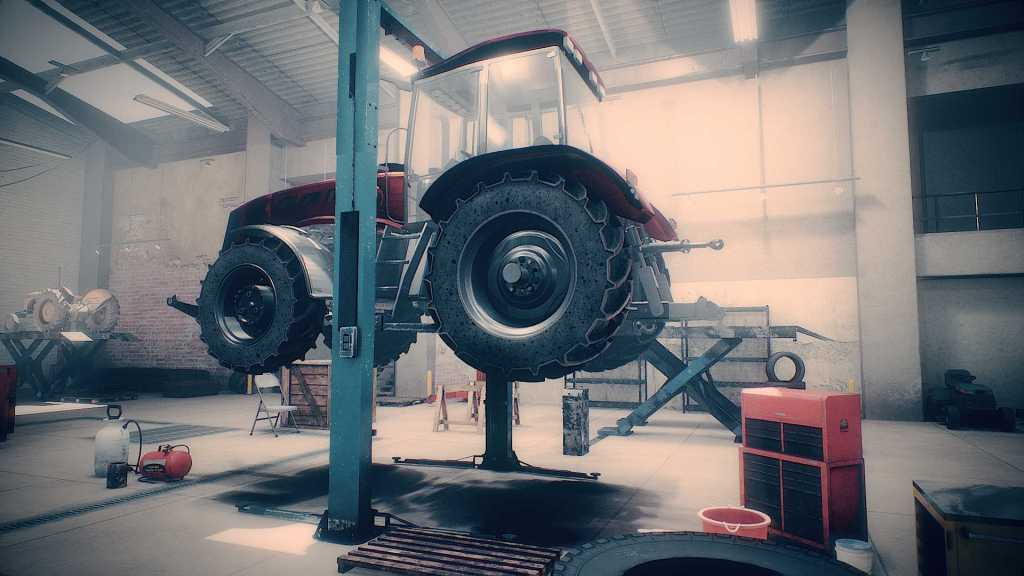 Farm Mechanic Simulator gameplay tractor on ramps