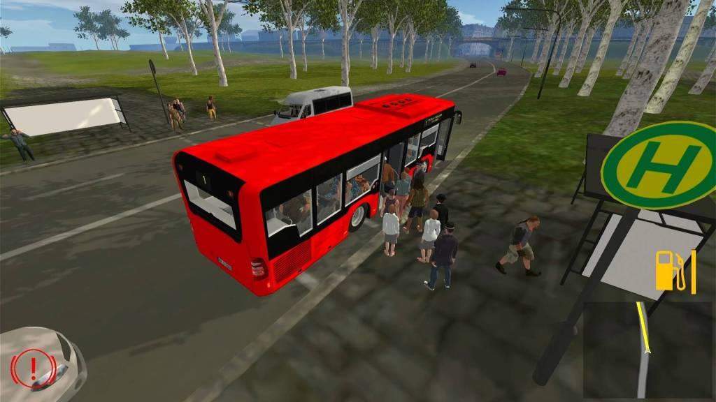 Bus Driver Simulator gameplay, customers getting on/off the bus