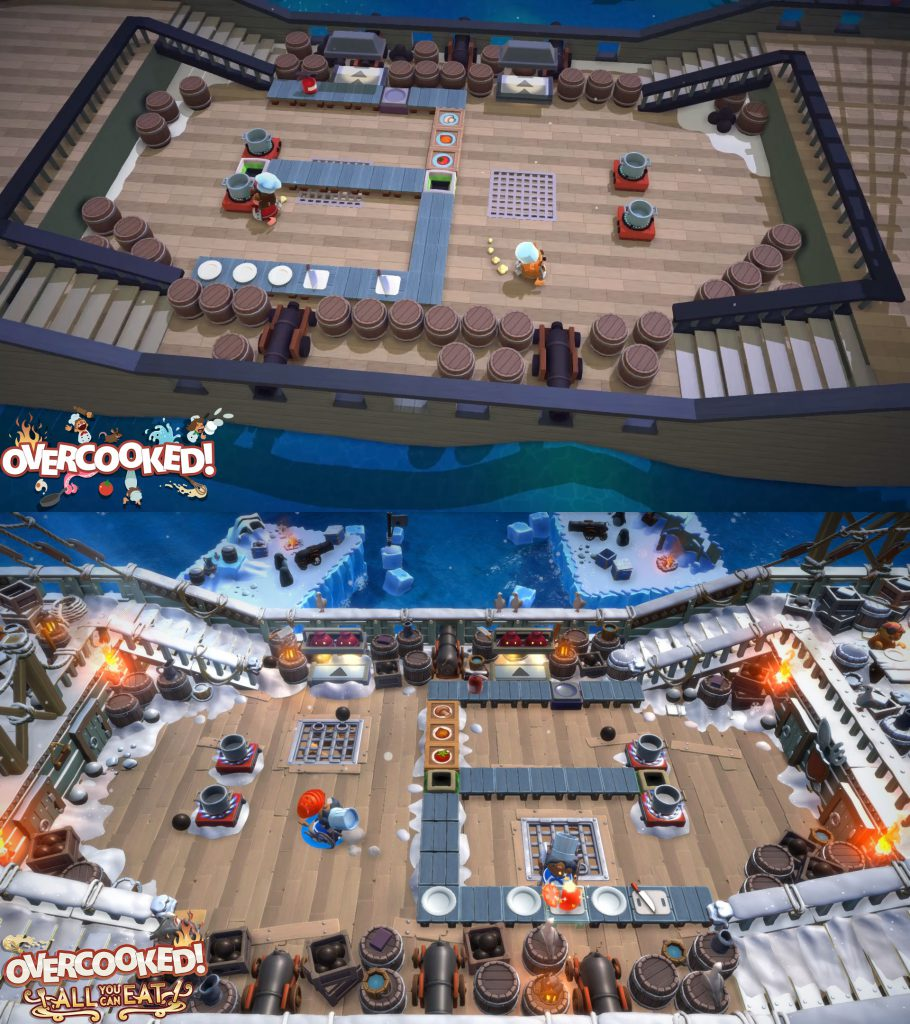 Overcooked All You Can Eat comparison with the original game on a pirate ship level