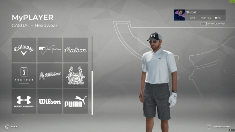 PGA Tour 2K21 MyPlayer screen kitting out the player