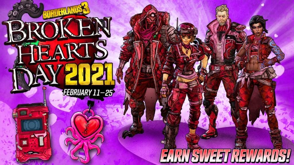 Borderlands 3's Broken Hearts Day Event Rewards