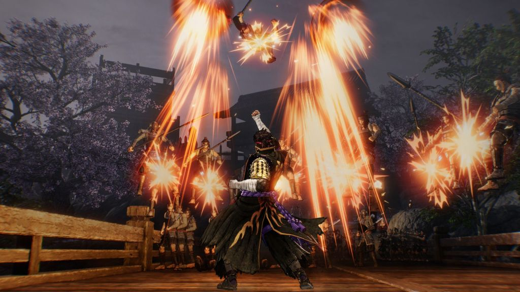 Samurai Warriors 5 combat, enemies being punched in the air