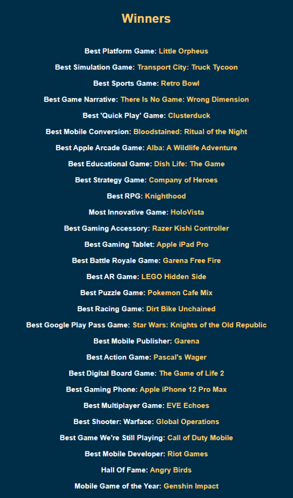 Pocket Gamer Awards Winners List