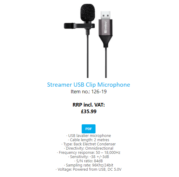 Sandberg Clip On Microphone image and features