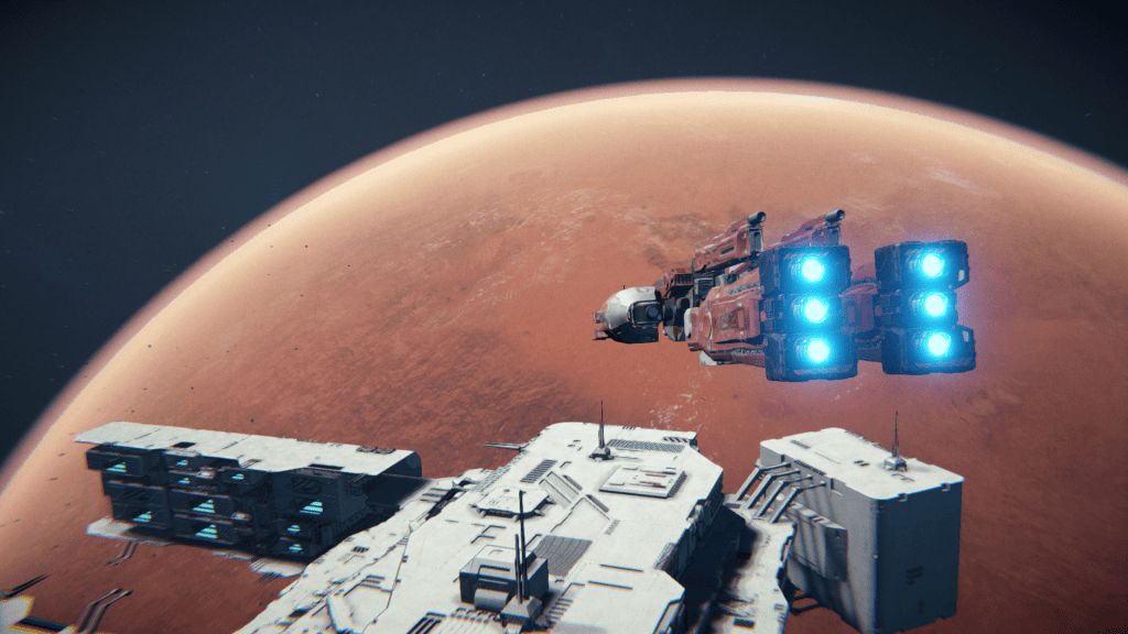 Infinite Fleet gameplay screenshot of two ships in space above a planet