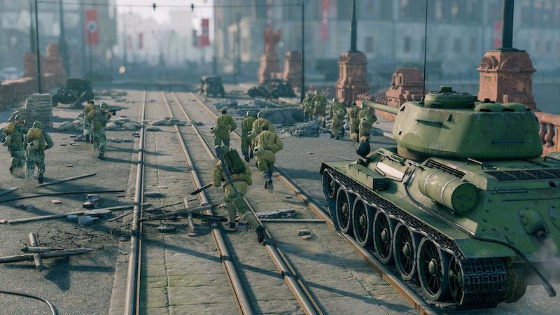 Enlisted Battle of Berlin tank and troops storming Berlin