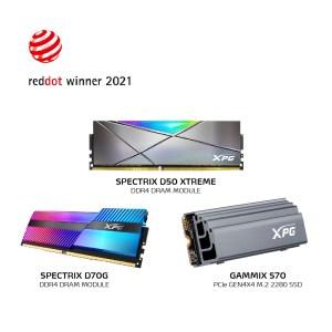 XPG Red Dot Award Winners; GAMMIX S70, SPECTRIX D70G and SPECTRIX D50 Xtreme