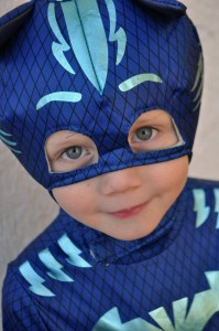 boy in store-bought PJ Masks Catboy Halloween costume