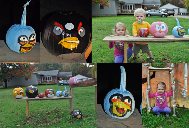Collage of the Angry Birds yard display showing my daughter and son and the angry birds pumpkins we painted