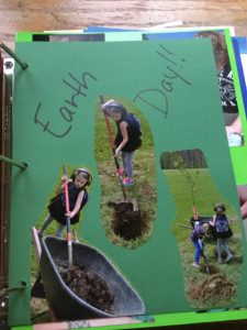 Pictures of my daughter planting a tree for Earth Day