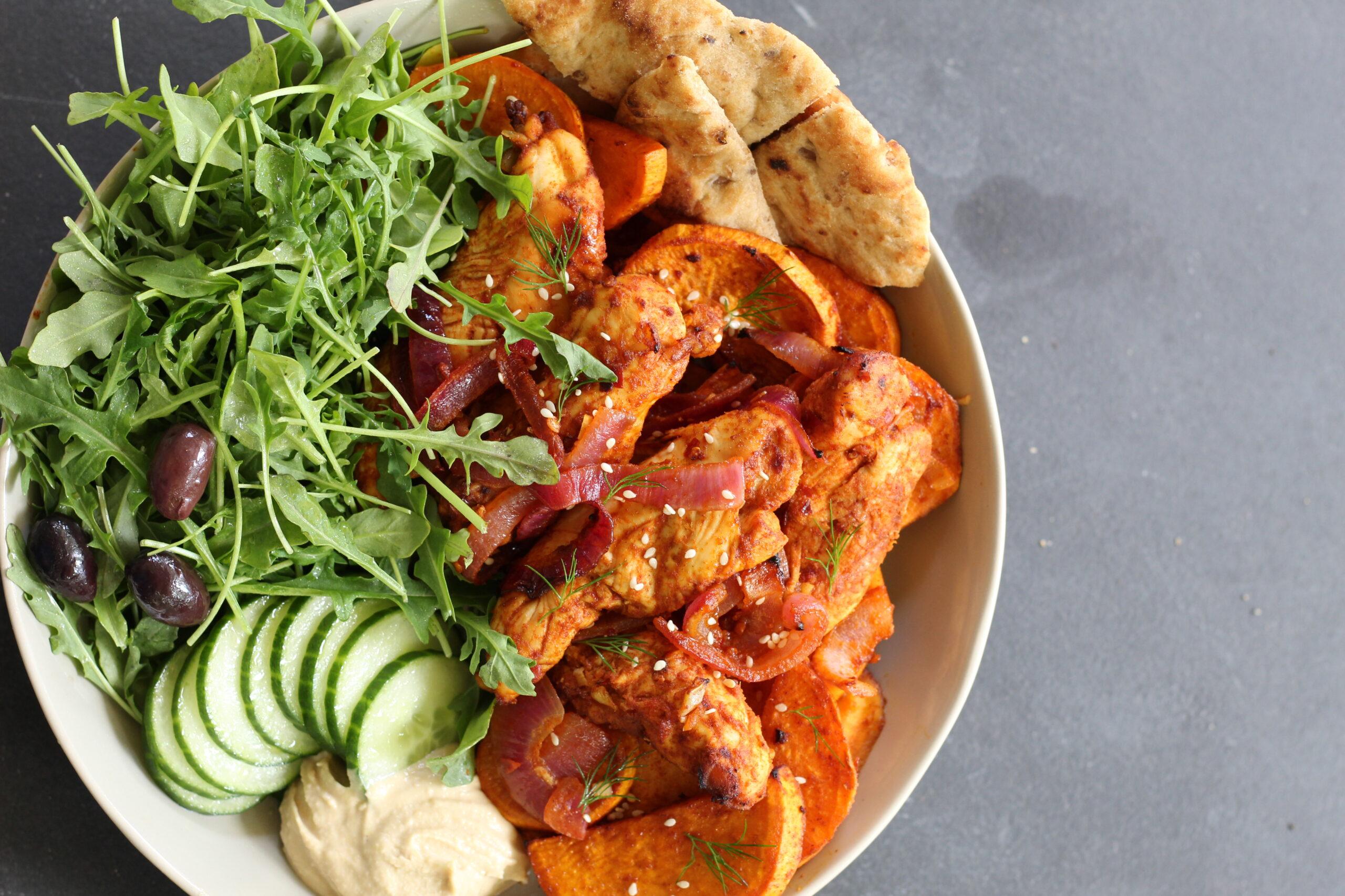 sheet pan, chicken, shawarma, sweet potatoes