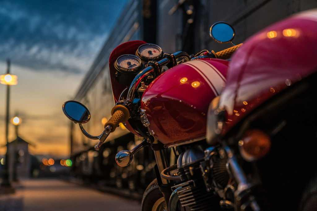 motorcycle on the road at dusk
