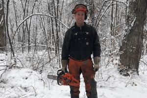 Scott managing a fallen tree in the maple forest - 5th GEN