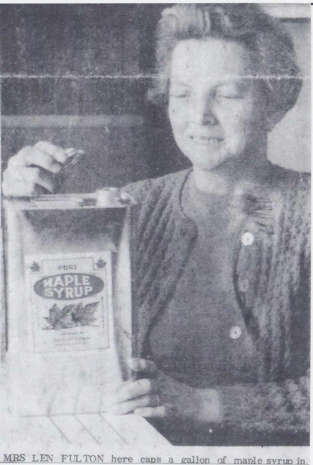 Hazel Fulton with a syrup can in the 1950s - 3rd GEN