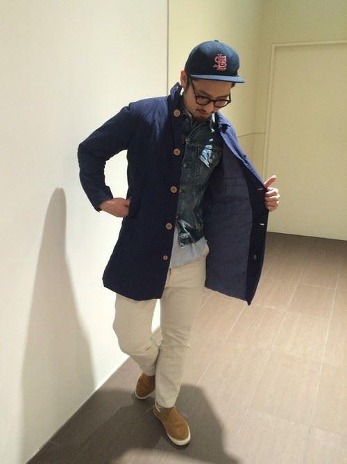 シティボーイ系ファッションにGジャンを取り入れた男性の着こなし