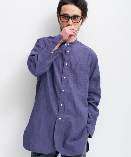 green label relaxing MENS PANAMA BAND/C H/PL LONG シャツ