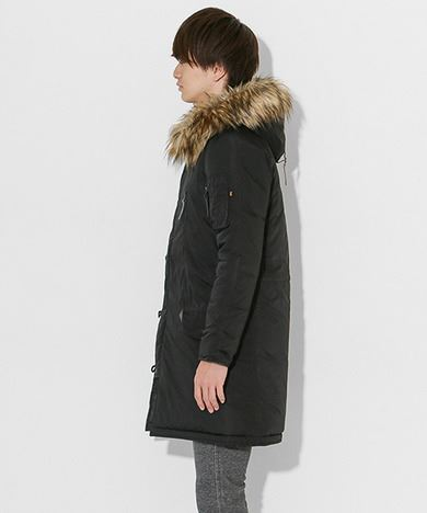 ALPHA INDUSTRIES × SENSE OF PLACE by URBAN RESEARCHコラボロングN-3Bメンズブラック
