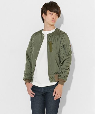 ALPHA INDUSTRIES × SENSE OF PLACE by URBAN RESEARCHコラボインナーMA-1メンズカーキ