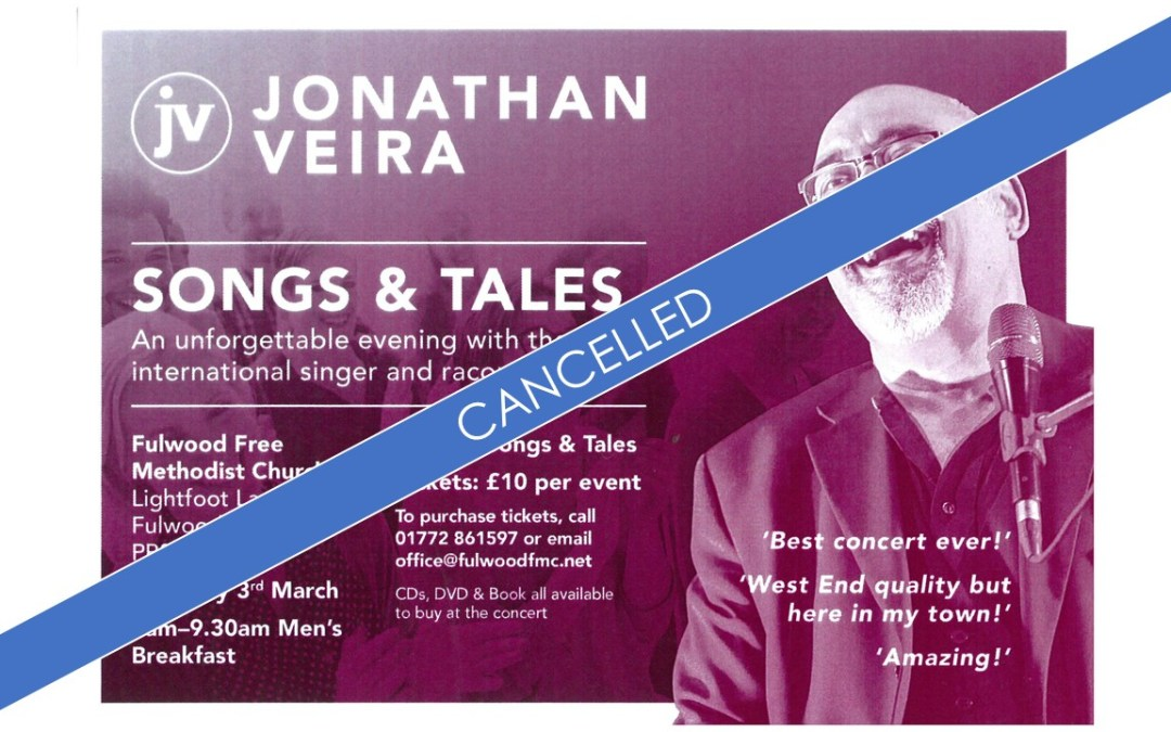 **Cancelled** Songs and Tales with Jonathan Veira **Cancelled**