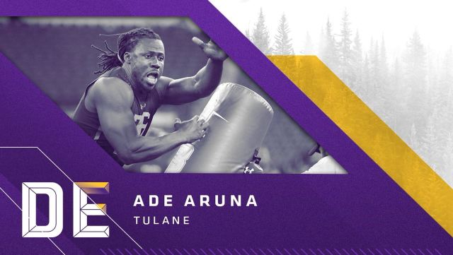 Defensive End Ade Aruna, Tulane, escolha do Vikings